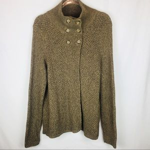 Woolrich Dark Khaki Heather Cotton Flyaway Sweater